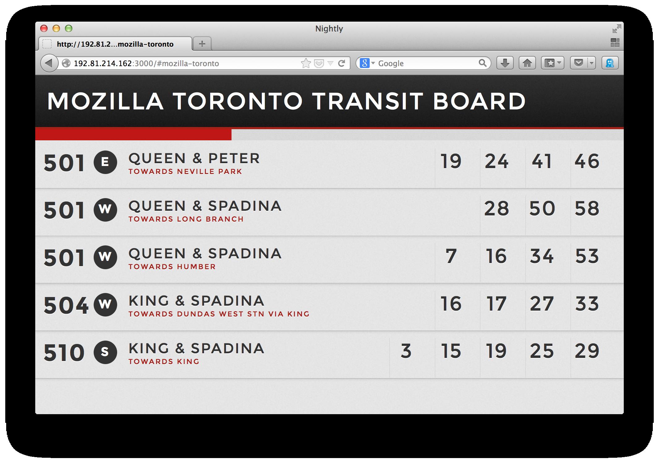Mozilla Toronto Transit Board