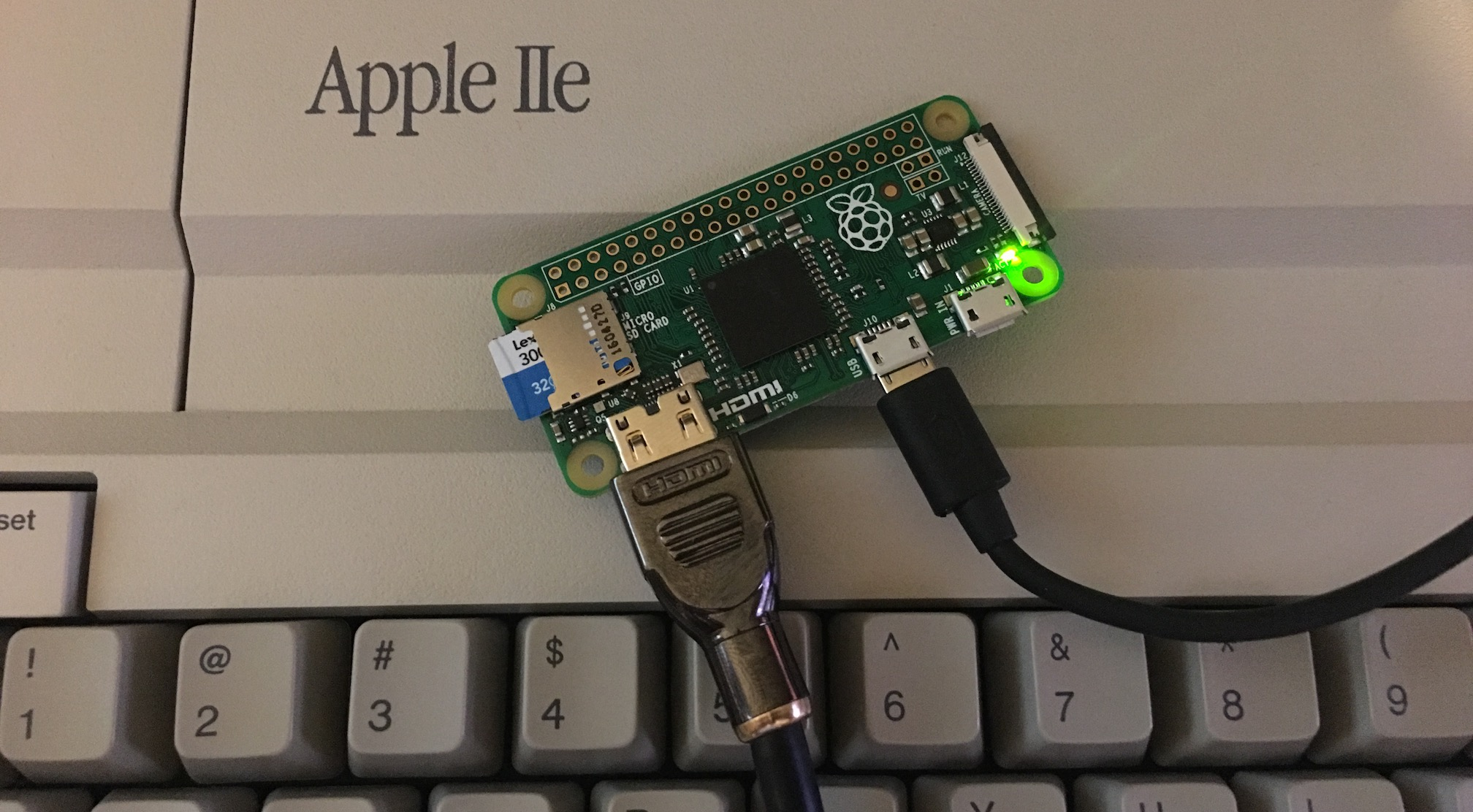 Raspberry Pi Zero on an Apple IIe